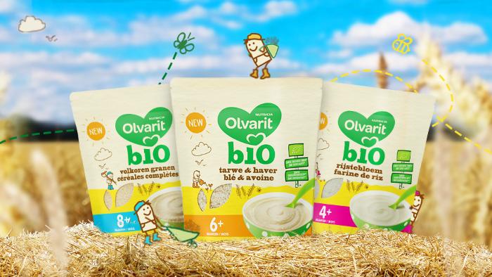 Nouveau: céréales Bio Olvarit