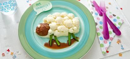bloemkool-aardappelpuree-gehaktballetjes