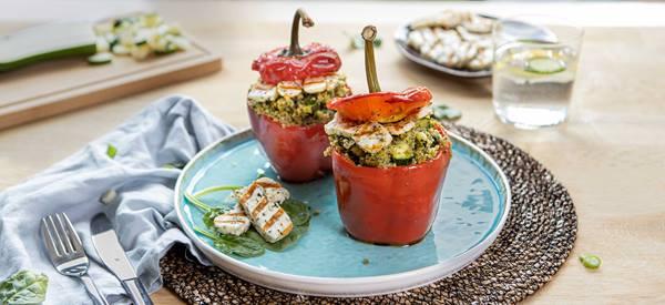 salade met pompoen, linzen en stoofpeer