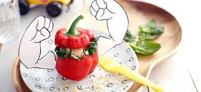 paprika met rijst en spinazie