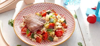 Risotto met courgette, paprika en tonijn