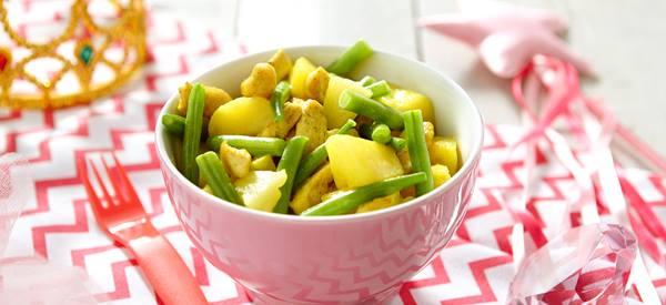 Knapperige sperzieboontjes met aardappeltjes en rundvlees