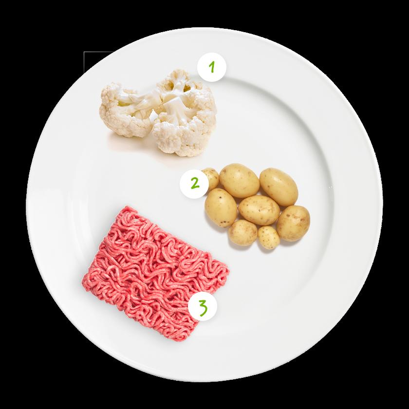 ingrediënten bloemkool aardappelpuree gehaktballetjes