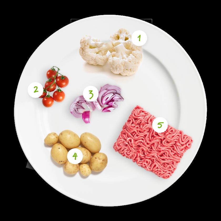 Ingrédients chou-fleur à la tomate et au haché