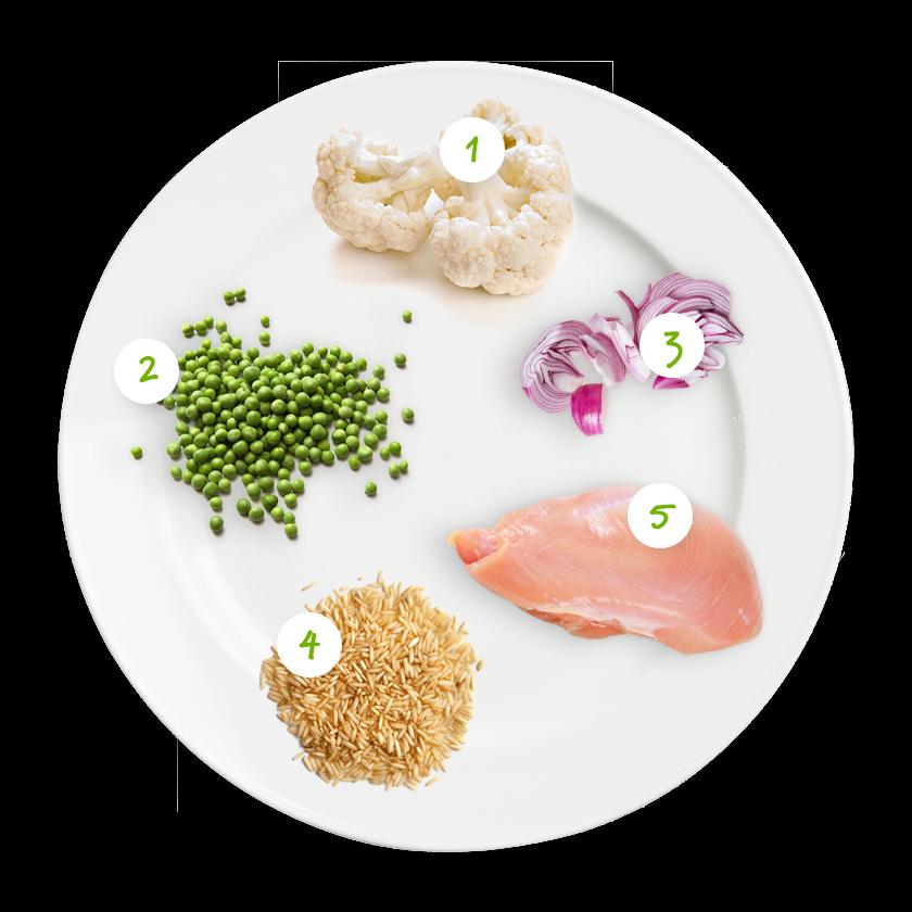 ingrediënten bloemkool doperwtjes kerrie