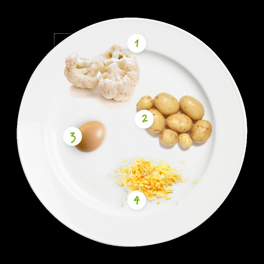 ingrediënten bloemkool met kaas en ei