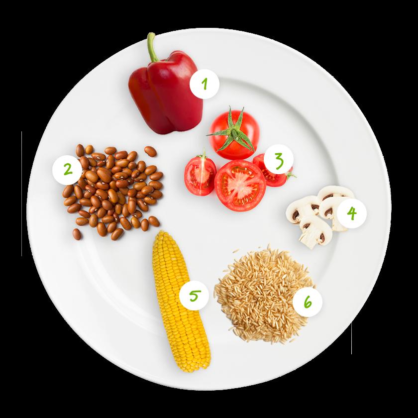 ingrediënten bruine bonen tomaat paprika