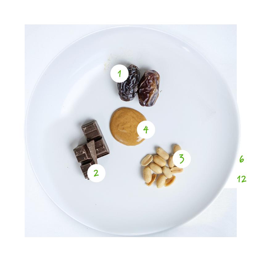 ingrediënten gevulde dadels met chocola
