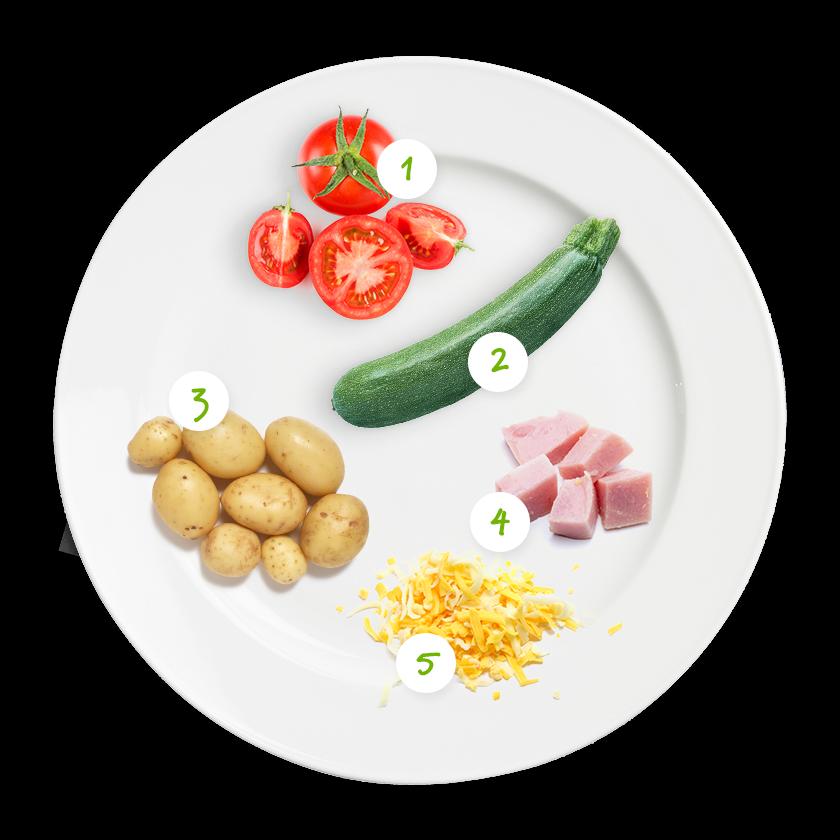 ingrediënten ovenschotel tomaat ham