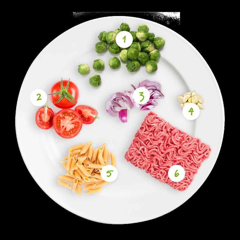 ingrediënten hemelse pasta met spruitjes