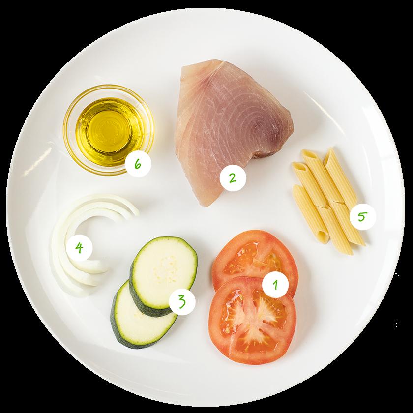 ingrediënten voor pasta met tonijn en tomaat