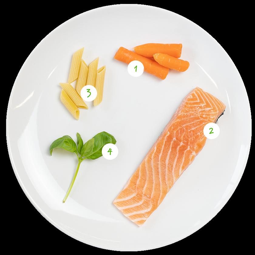 ingrediënten voor pasta met wortelpuree en zalm