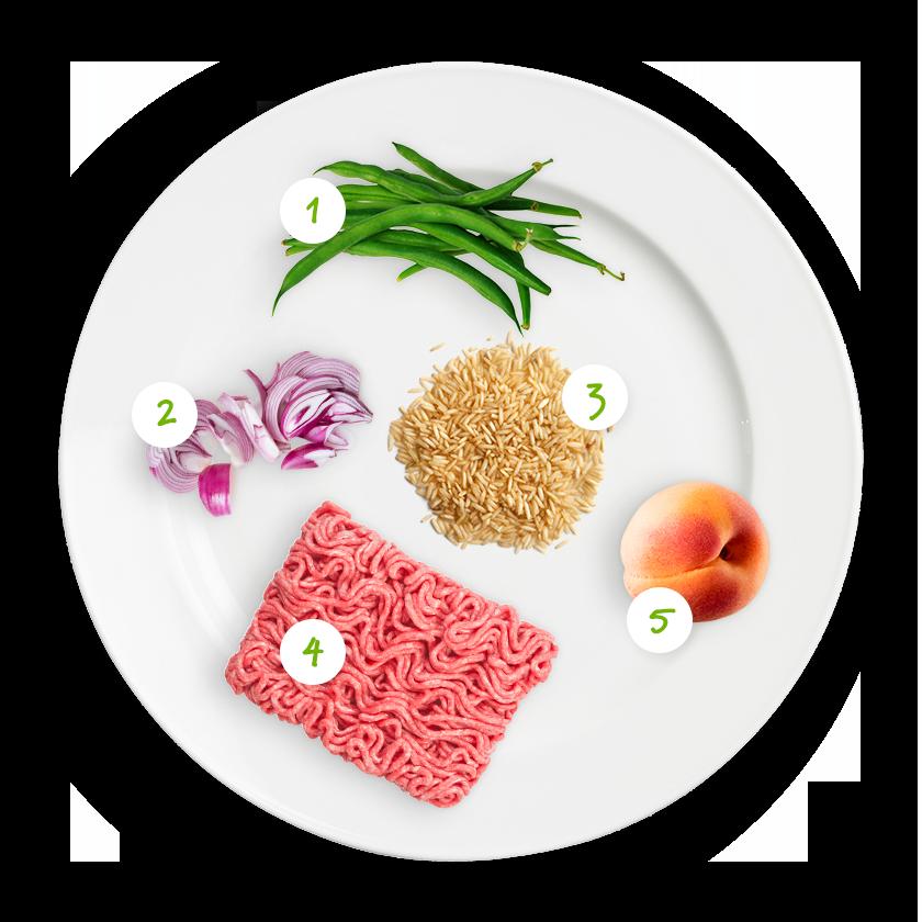 Ingrédients haricots verts, haché et riz