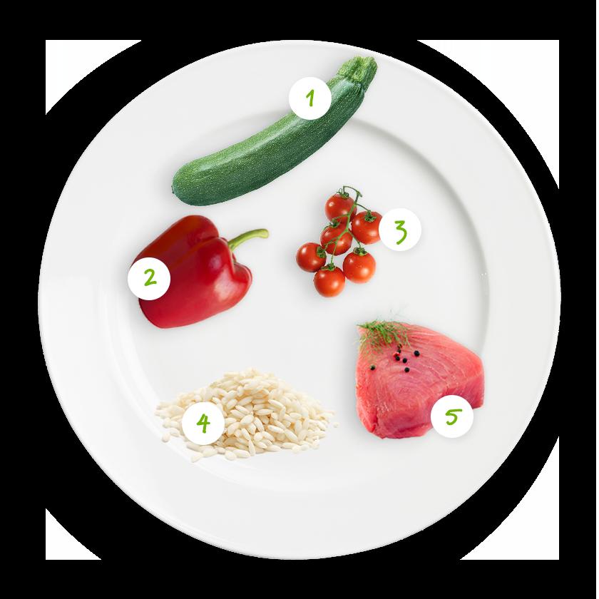 ingrediënten risotto courgette paprika tonijn