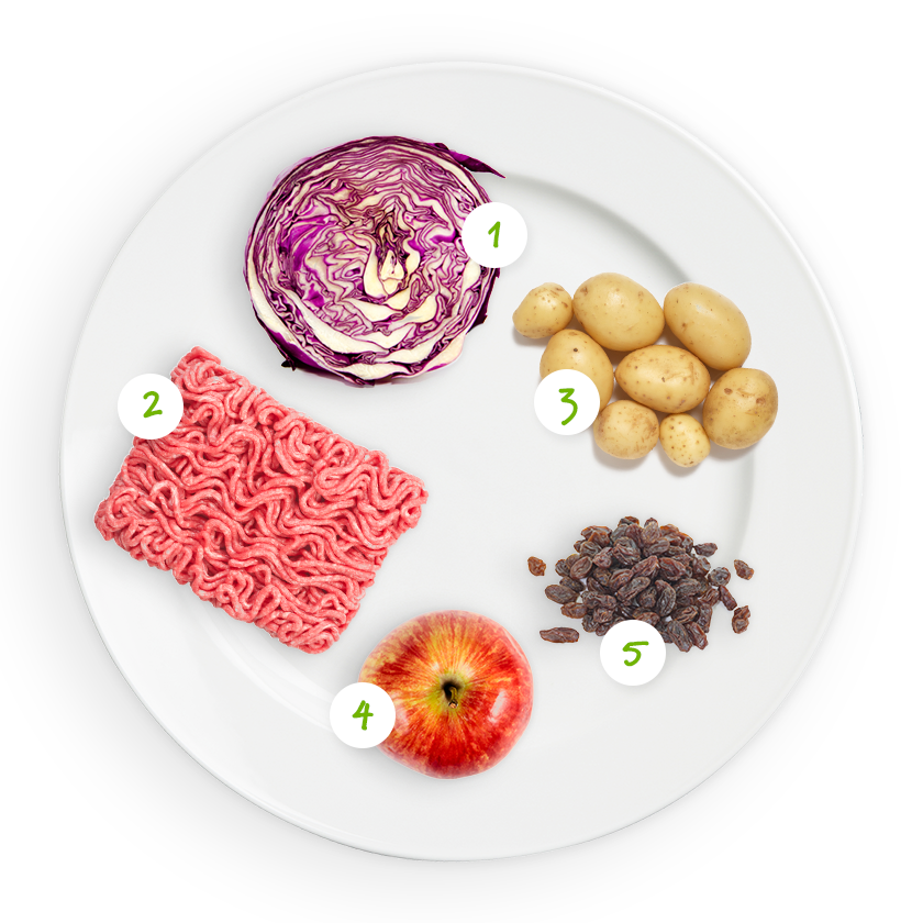 Ingrédients chou rouge, pommes de terre, haché