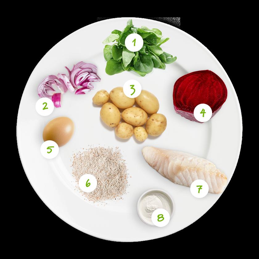 ingrediënten spinazie met kabeljauw