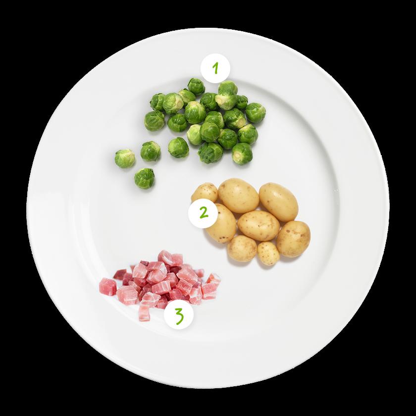 Ingrédients choux de Bruxelles-lardons -pommes de terre