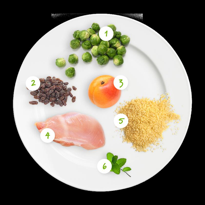 ingrediënten spruitjes couscous