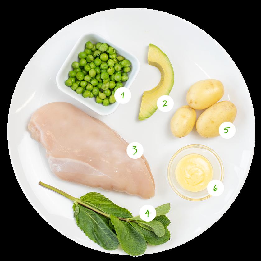 ingrediënten voor stamppot met munt en avocado
