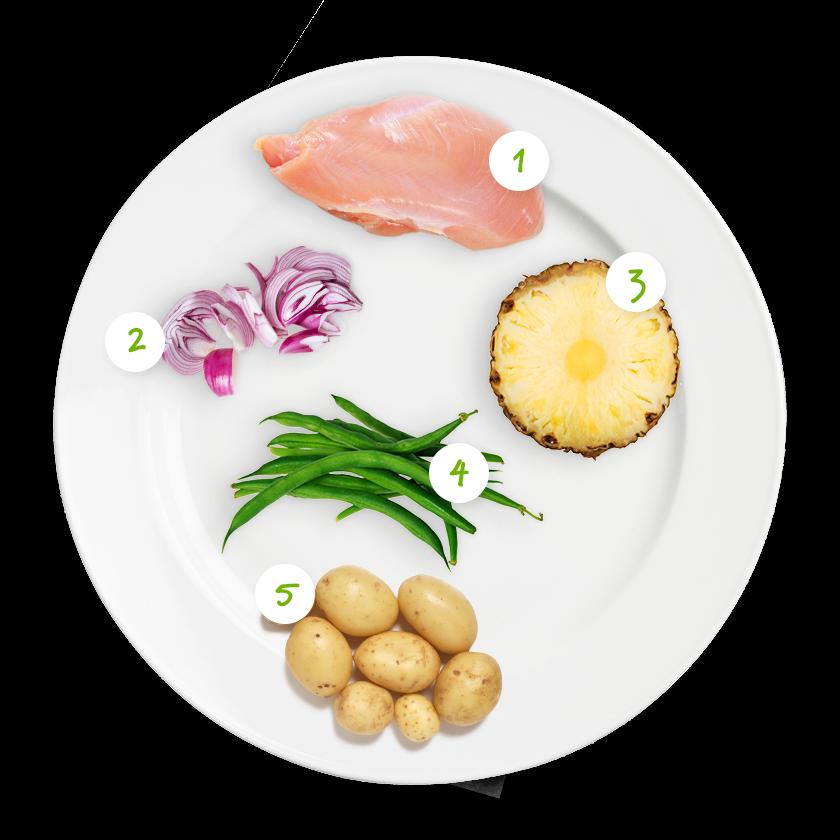 Ingrédients poulet curry au lait de coco, ananas et haricots verts