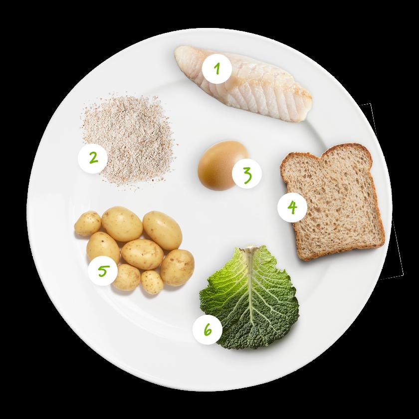 ingrediënten vissticks met kool en piep
