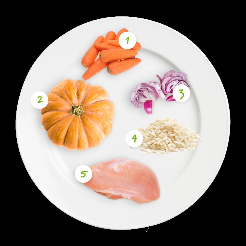 Ingrédients risotto, carottes, poulet et potiron