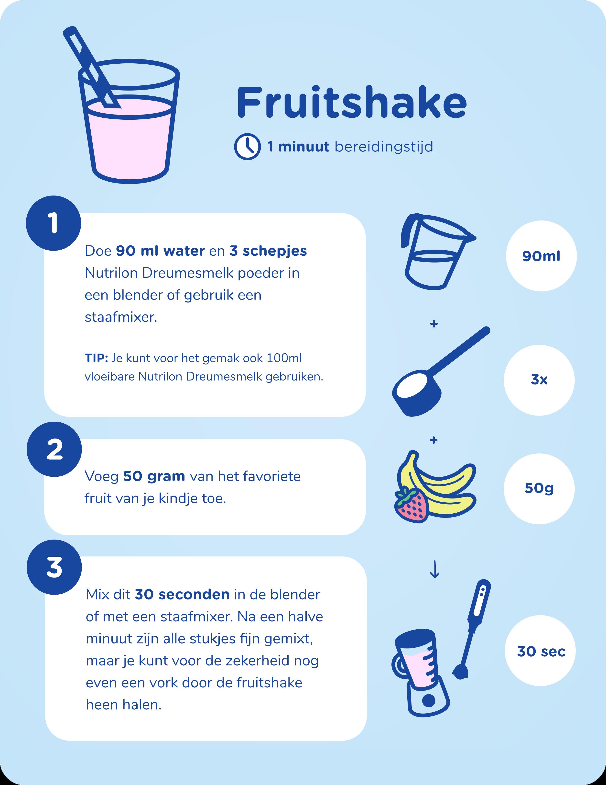 nutrilon dreumesmelk fruitshake stappenplan
