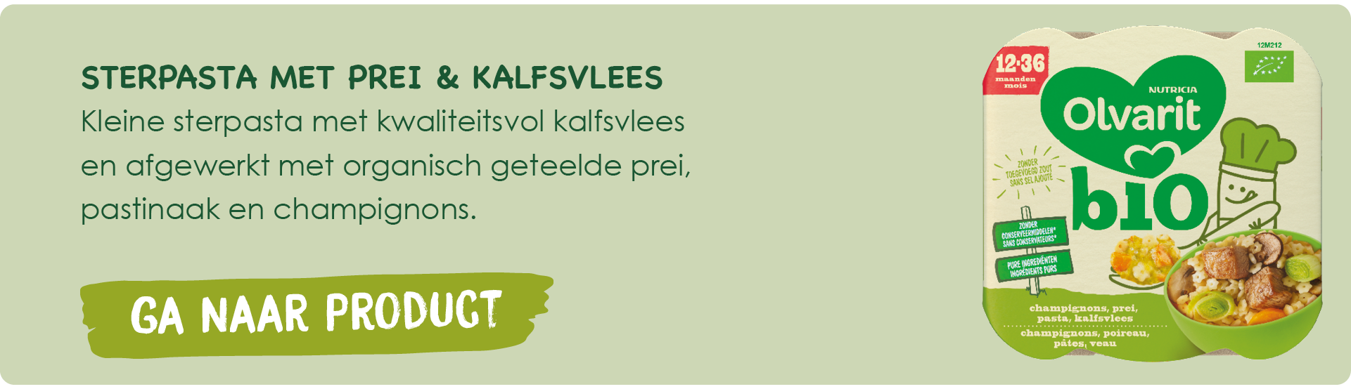 BIO Peuterbordjes sterpasta met prei & kalfsvlees