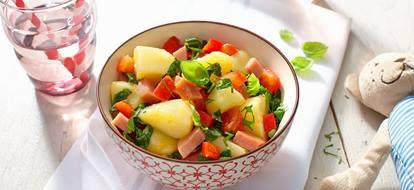 Roerbakschotel met andijvie met tomaat en ham