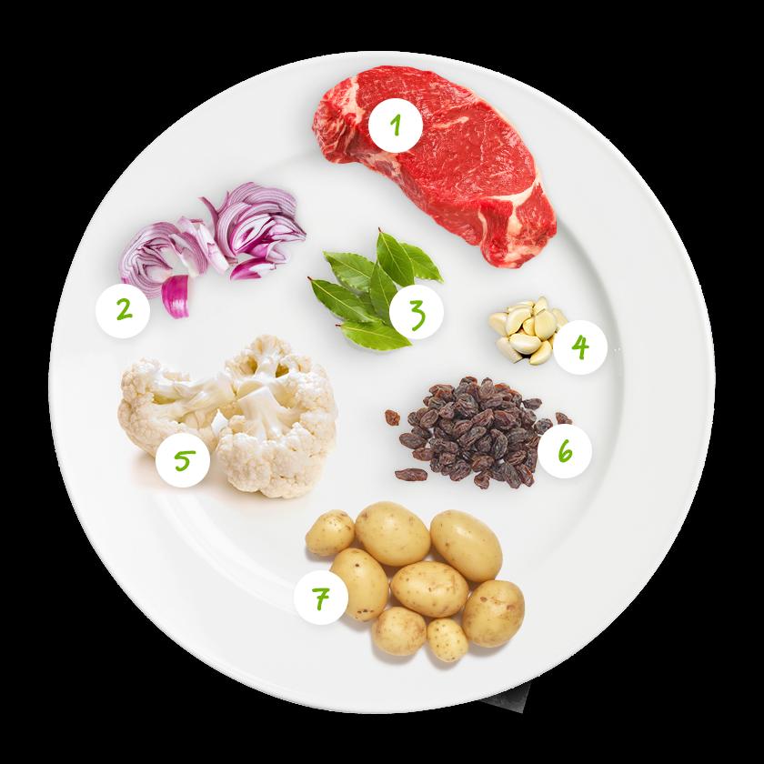 Ingrédients bœuf, pommes de terres et champignons