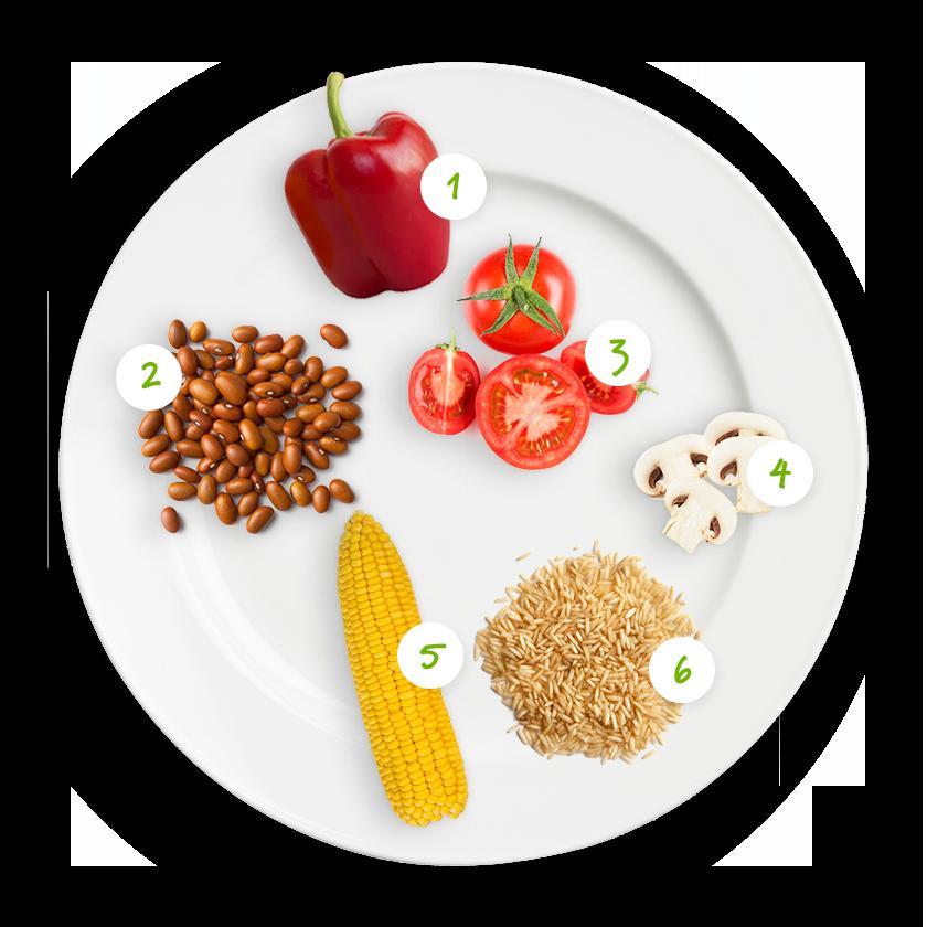 Ingrédients haricots verts, tomates, poivron