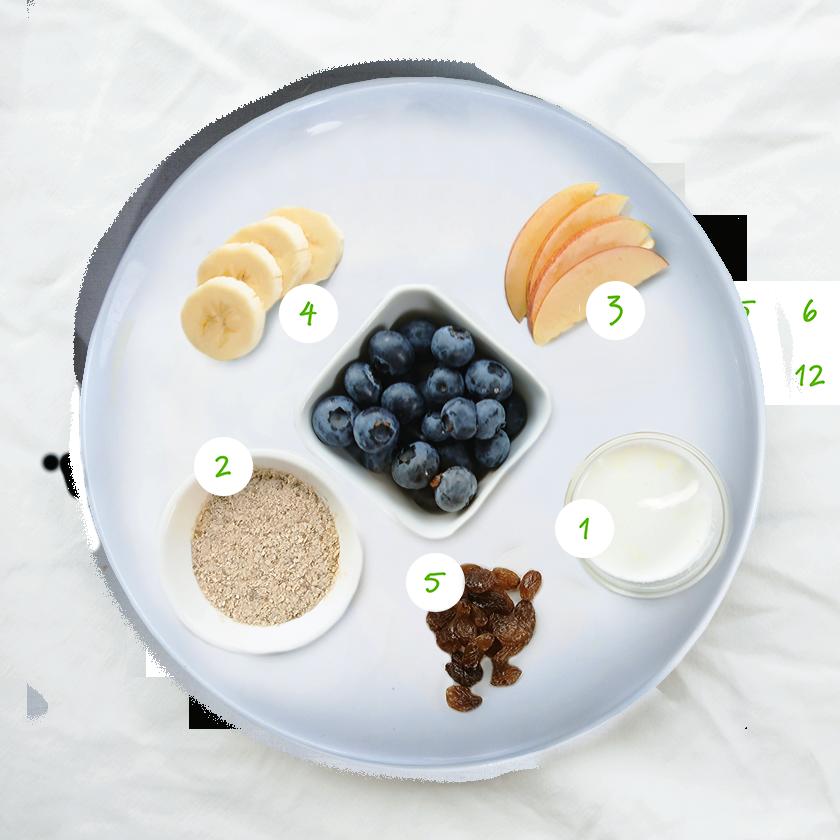 Olvarit visage de petit-déjeuner ingrédients