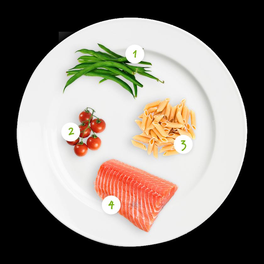 ingrediënten pasta met sperziebonen en zalm
