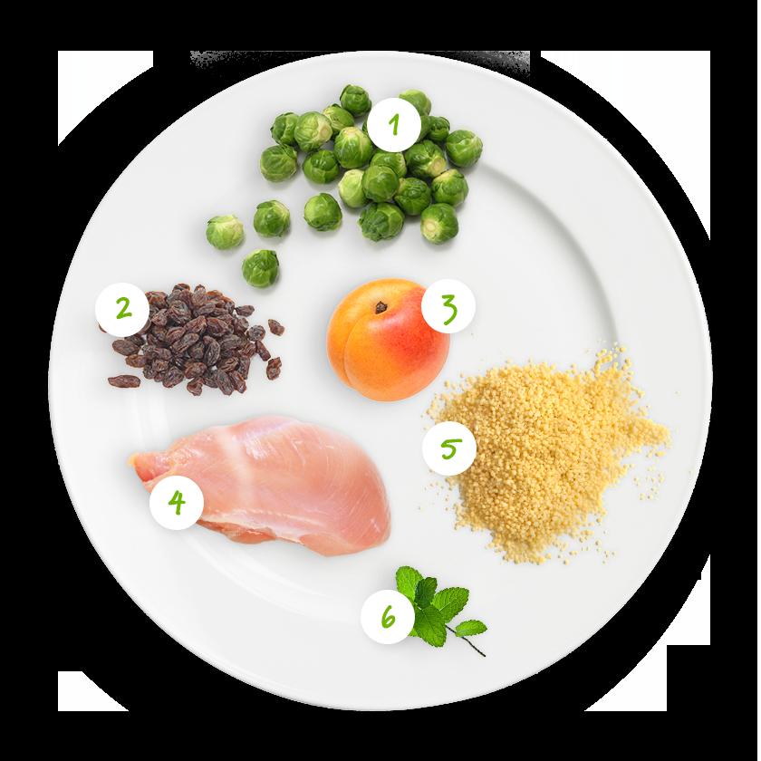 Ingrédients couscous, choux de Bruxelles, poulet et fruits secs